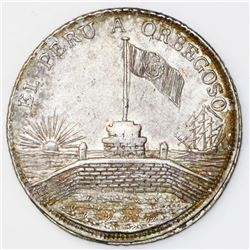 """Callao, Peru, """"6 reales""""-sized silver medal, 1834, General and President Luis Orbegoso, ex-Cotoca."""