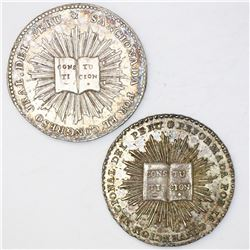 Lot of two Lima, Peru, 2 reales-sized silver proclamation medals, Constitution, ex-Cotoca: 1828 and