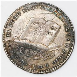 Lima, Peru, 2 reales-sized silver proclamation medal, 1852, President Echenique / Constitution and C