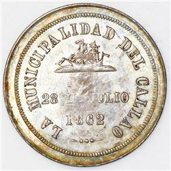 Callao, Peru, silver proclamation medal, 1862, City of Callao, ex-Cotoca.