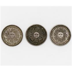 Lot of three Lima, Peru, silver proclamation medals, 1864/5 and 1868 (2), Independence / San Martin,