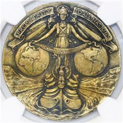 """USA (for Panama), bronze """"so-called dollar,"""" 1914, Panama Canal Completion, numbered 4216, NGC MS 64"""