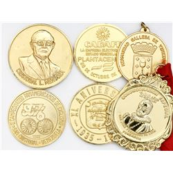 Lot of six gilt Venezuelan medals awarded to former president Carlos Andres Perez, 1975-91.