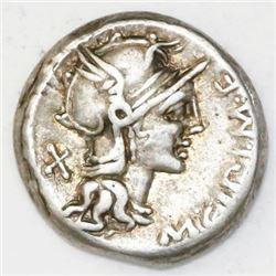 Roman Republic, AR denarius, M. Cipius, 115-114 BC.