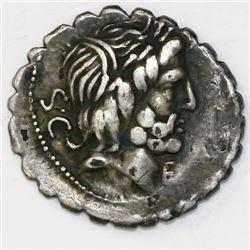Roman Republic, serrate AR denarius, Q. Antonius Balbus, 83-82 BC, Rome mint.