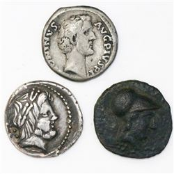Lot of three small ancients (one Greek AE, one Roman Republic AR and one Roman Empire AR).
