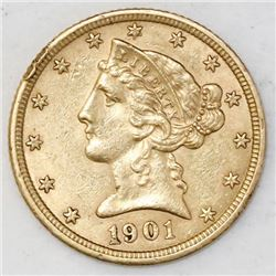 "USA (Philadelphia mint), $5 coronet Liberty ""half eagle,"" 1901."