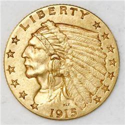 "USA (Philadelphia mint), $2-1/2 Indian head ""quarter eagle,"" 1915."