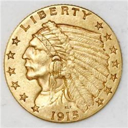"USA (Philadelphia mint), $2-1/2 Indian head ""quarter eagle,"" 1915."