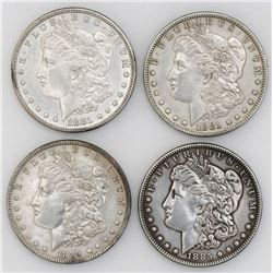 Lot of four USA, Morgan dollars: 1881, 1881-S, 1885, and 1889.