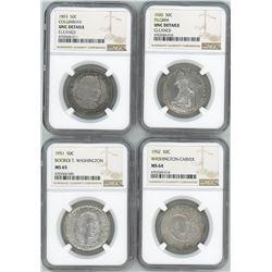Lot of four USA (Philadelphia mint), half dollar commemoratives in NGC slabs: 1893, Columbian, UNC d