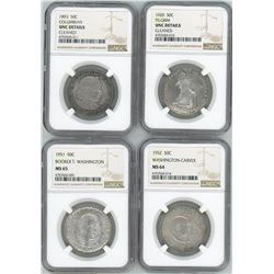 Lot of four USA (Philadelphia mint), half dollar commemoratives in NGC slabs: 1893, Columbian, UNC d