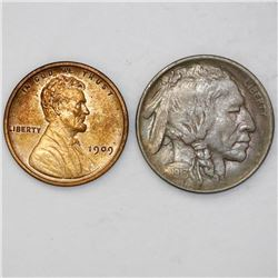 """Lot of two USA (Philadelphia mint): nickel 5 cents """"Buffalo,"""" 1913, type 1; copper 1 cent """"Lincoln,"""""""