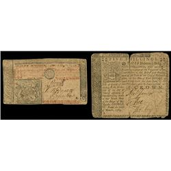 Lot of two colonial notes: New Jersey, 3 pounds, Apr. 8, 1762, serial 3266, and Pennsylvania, 5 shil