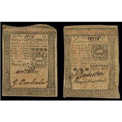 Lot of two Pennsylvania, Oct. 1, 1773-dated notes: 20 shillings, serial 1195, and 15 shillings, seri