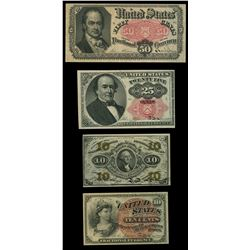 Lot of four USA (Washington, D.C.) fractional notes, 1862-63.