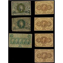 Lot of seven USA (Washington, D.C.) fractional notes, 1862-63.