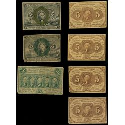 Lot of seven USA (Washington, D.C.) fractional notes, 1862-63.