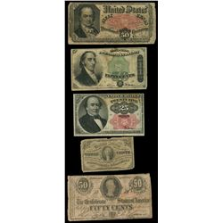 Lot of four USA and one CSA fractional notes, 1863-74.