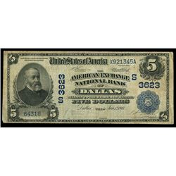 Dallas, Texas, USA, American Exchange National Bank, $5, charter (S)3623, series 1902, date back, se