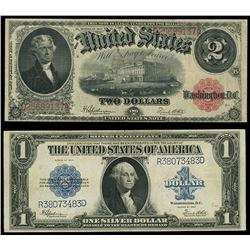 Lot of two USA (Washington, D.C.), Speelman-White notes: Legal Tender, $2, series of 1917, serial D2