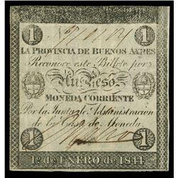 Buenos Aires, Argentina, Provincia de Buenos Aires, 1 peso, 1-1-1844, serial 910114.