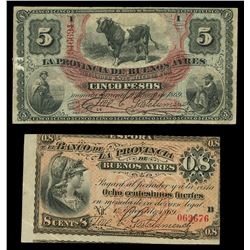 Lot of two Buenos Aires, Argentina, Provincia de Buenos Aires, 1-1-1869 notes: 5 pesos, serial 94669