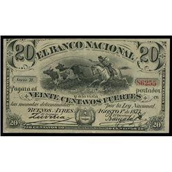 Buenos Aires, Argentina, Banco Nacional, 1-8-1873, series B, serial 86255.