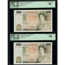 Lot of two London, England, Bank of England, 50 pounds, Elizabeth II, ND (1981-88), PCGS Choice Abou
