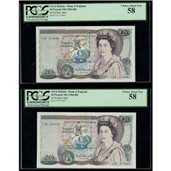 Lot of two London, England, Bank of England, 20 pounds, Elizabeth II, ND (1984-88), PCGS Choice Abou