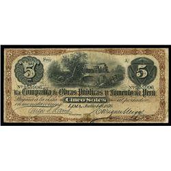 Lima, Peru, Compania de Obras Publicas y Fomento del Peru, 5 soles, 4-7-1876, series A, serial 35599