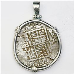 "Potosi, Bolivia, cob 8 reales, Philip IV, assayer P, ex-""Panama hoard,"" mounted cross-side out in si"