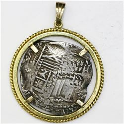 Potosi, Bolivia, cob 4 reales, Philip III, assayer R (curved leg), mounted in 14K gold bezel.