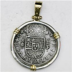 "Segovia, Spain, milled 2 reales ""pistareen,"" Philip V, 1721F, mounted in silver bezel with 14K gold"
