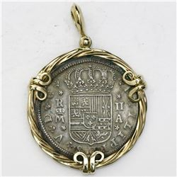 "Madrid, Spain, milled 2 reales ""pistareen,"" Philip V, 1723A, mounted cross-side out in rope-style 14"
