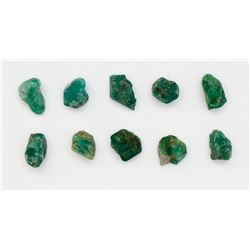 Lot of ten natural emeralds, 1-2 carats each.