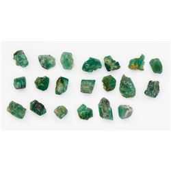 Lot of 20 natural emeralds, average of about 1 carat each.