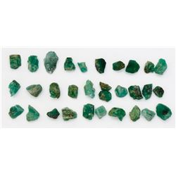 Lot of 30 natural emeralds, less than 1 carat each.