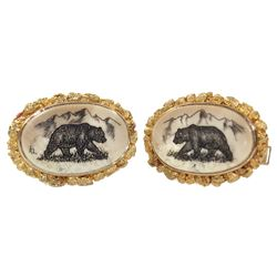 "Gold (16K) cufflinks with scrimshaw insets showing bears, signed ""KL."""