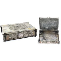Ornate Bolivian friendship silver box awarded to Venezuelan president Carlos Andres Perez, dated 197