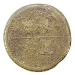 Spanish brass coin weight for 8 reales, 1600s(?).