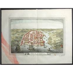 French copperplate-engraved engraving, ca. 1754, of a bird's eye view of Santo Domingo, engraved by