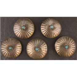 FIVE NAVAJO BUTTON COVERS