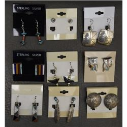 NINE PAIR PUEBLO EARRINGS