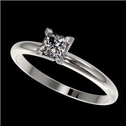 0.50 CTW Certified VS/SI Quality Princess Diamond Solitaire Ring 10K White Gold - REF-77Y6K - 32868