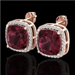 12 CTW Garnet & Micro Pave Halo VS/SI Diamond Earrings Solitaire 14K Rose Gold - REF-73A3X - 23064