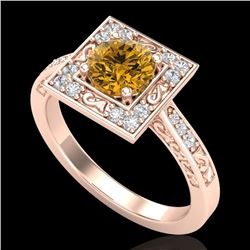 1.1 CTW Intense Fancy Yellow Diamond Engagement Art Deco Ring 18K Rose Gold - REF-140Y9K - 38156