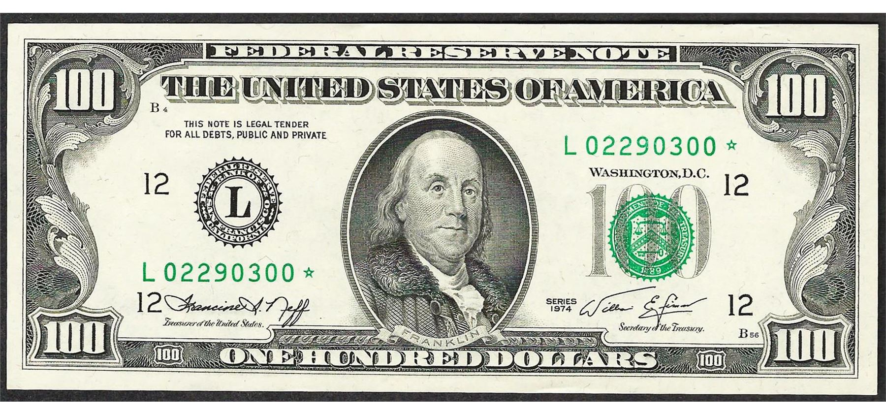 $100 FEDERAL RESERVE STAR NOTE