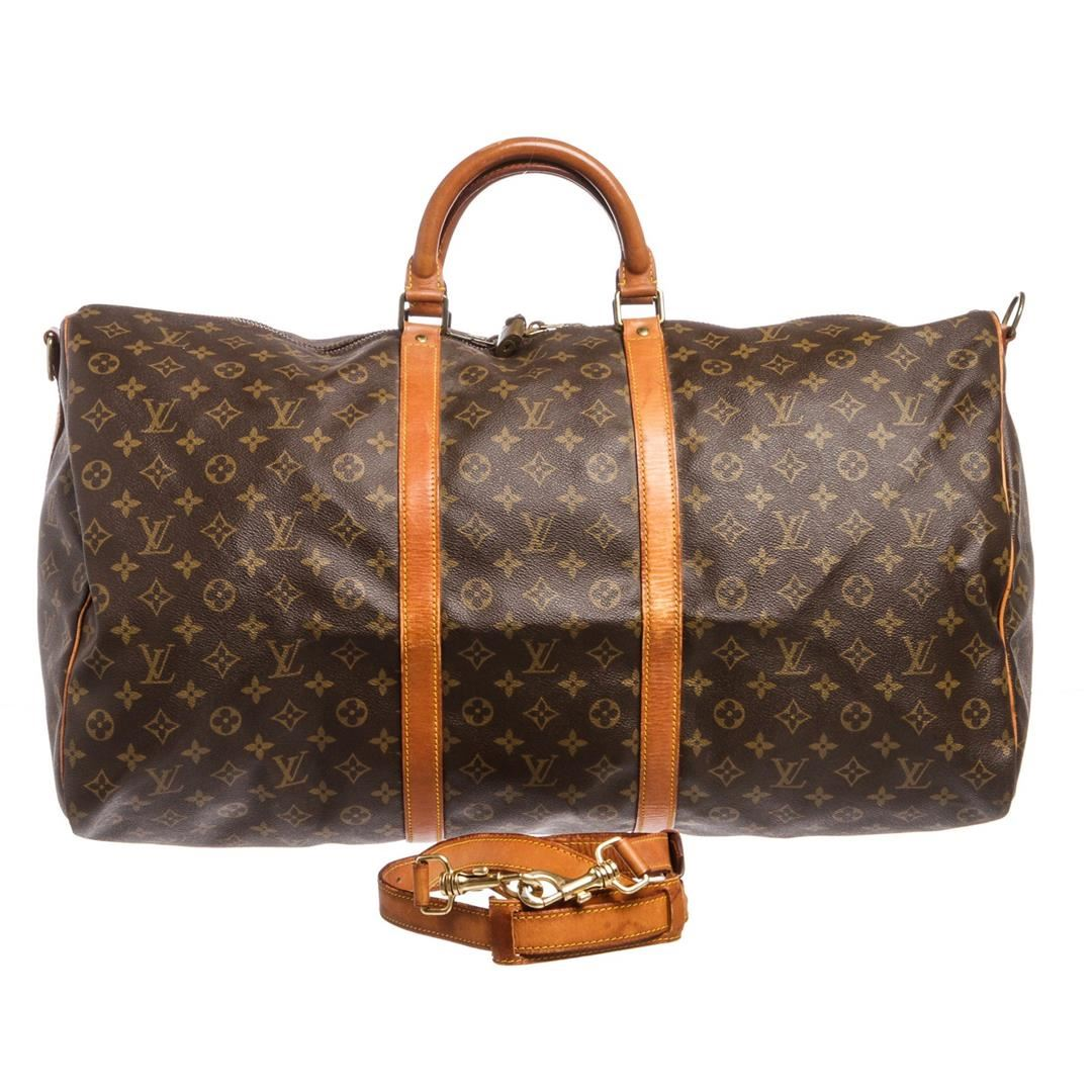 a5088828f06 ... Image 2   Louis Vuitton Monogram Canvas Leather Keepall 60 cm  Bandouliere Duffle Bag Lugag ...