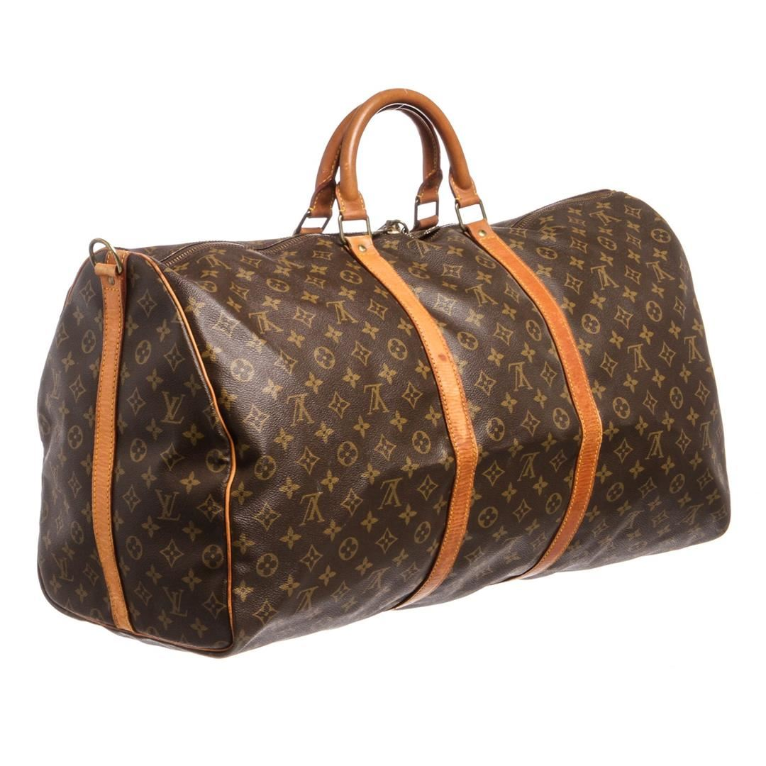 504aeadbed7 ... Image 4   Louis Vuitton Monogram Canvas Leather Keepall 60 cm  Bandouliere Duffle Bag Lugag ...